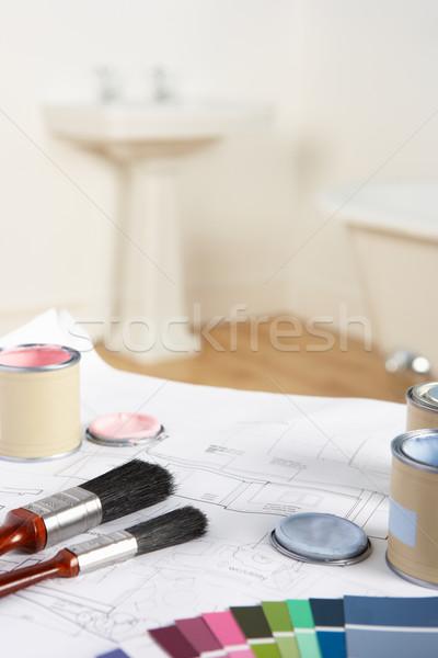 Szerszámok anyagok terv otthon festék festmény Stock fotó © monkey_business