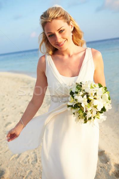 Stockfoto: Mooie · bruid · getrouwd · strand · ceremonie · bruiloft