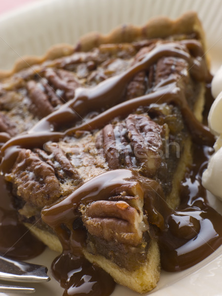 Slice Of Pecan Pie With Caramel Sauce And A Fork Stock photo © monkey_business