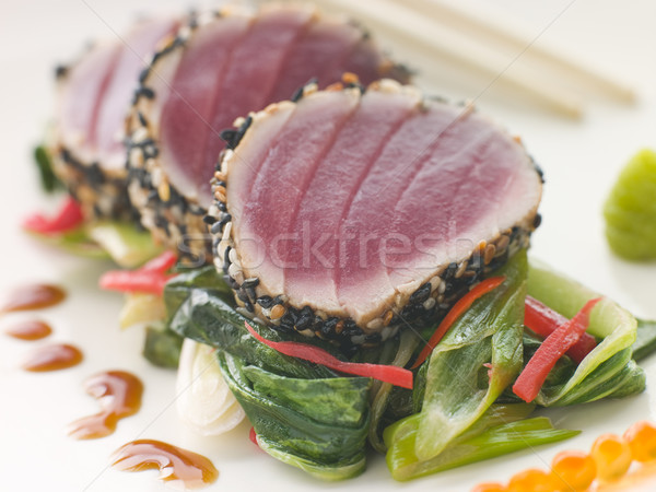 Seared Yellow Fin Tuna with Sesame Seeds Sweet Fried pac Choi an Stock photo © monkey_business