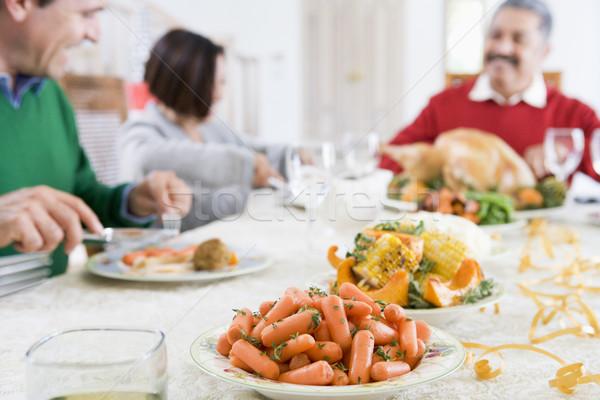 Stockfoto: Familie · alle · samen · christmas · diner · vrouw
