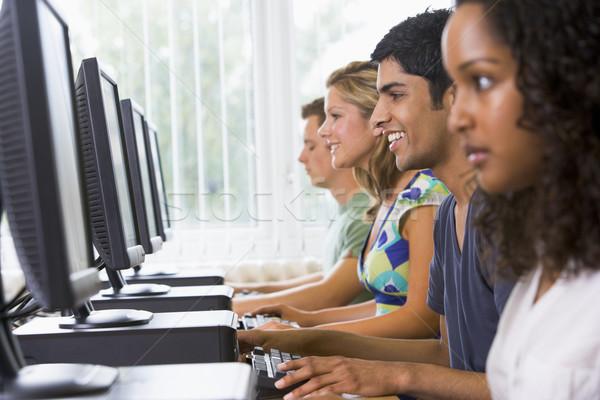 Stock fotó: Főiskola · diákok · számítógépes · labor · diák · technológia · oktatás