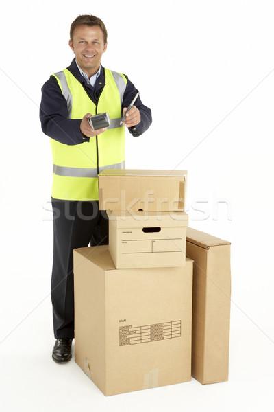 Futár doboz szolgáltatás szín stúdió személy Stock fotó © monkey_business