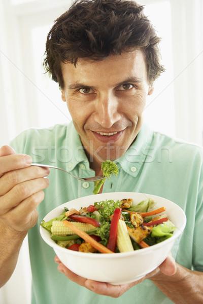 ストックフォト: 成人 · 男 · 健康的な食事 · サラダ · 食品 · 肖像