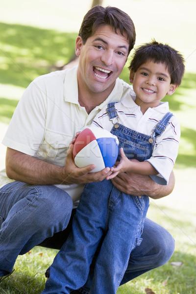 Foto d'archivio: Uomo · esterna · calcio · sorridere · erba