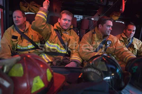 Tűzoltók utazás vészhelyzet belső sisak szín Stock fotó © monkey_business