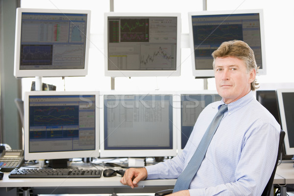 Portrait Of Stock Trader In Front Of Computer Monitors Stock photo © monkey_business