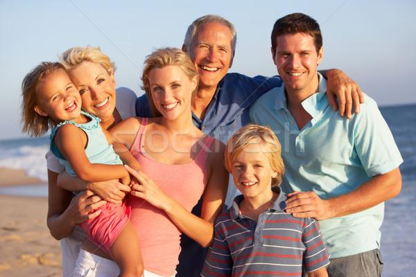 Portrait trois génération famille vacances à la plage femme Photo stock © monkey_business