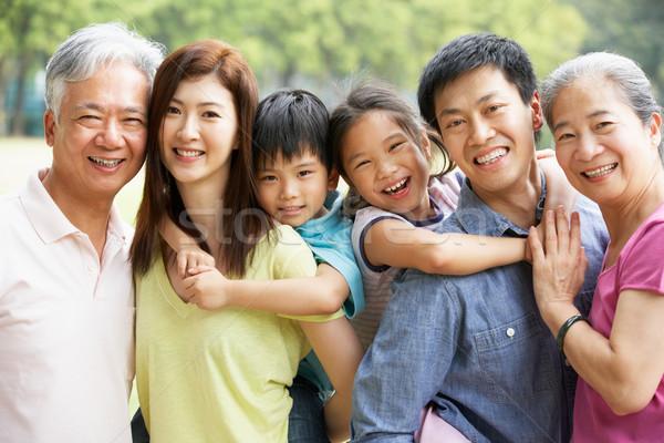 Retrato chino familia relajante parque junto Foto stock © monkey_business