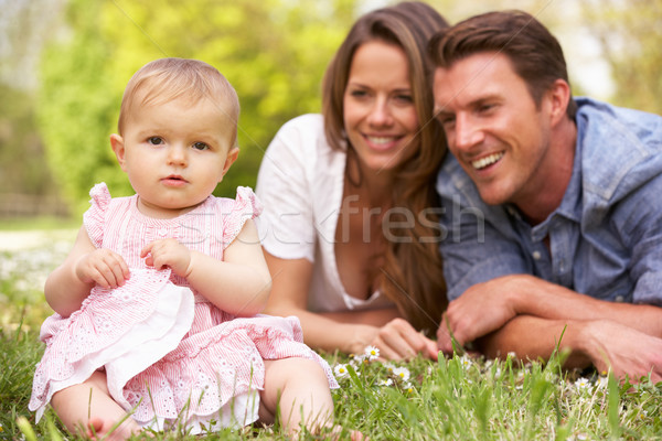 Stockfoto: Ouders · vergadering · veld · zomerbloemen · familie