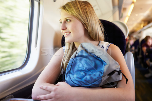 Teenage Girl Relaxing On Train Journey Stock photo © monkey_business