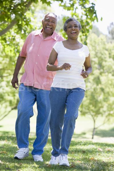 Idős pár szórakozás park nő férfi pár Stock fotó © monkey_business