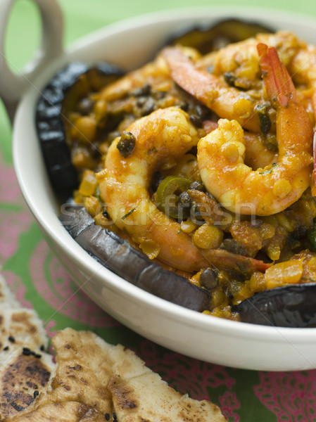 Dish of Prawn Dhansak with Naan Bread Stock photo © monkey_business