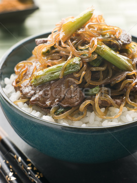 Sweet Soy Beef Fillet with Shirataki Noodles on Rice Stock photo © monkey_business