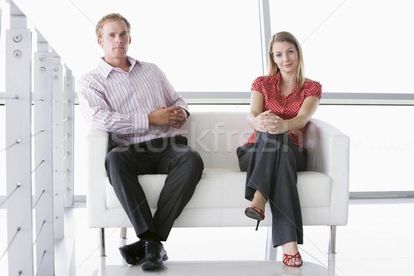 два сидят служба лобби улыбаясь Сток-фото © monkey_business