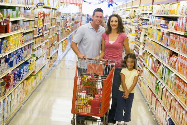 ストックフォト: 小さな · 家族 · 食料品 · ショッピング · スーパーマーケット · 女性