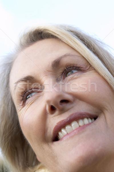 Foto d'archivio: Ritratto · senior · donna · sorridente · faccia · felice · persona