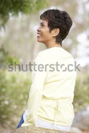 Vonzó fiatal nő térdel homok nő nyár Stock fotó © monkey_business