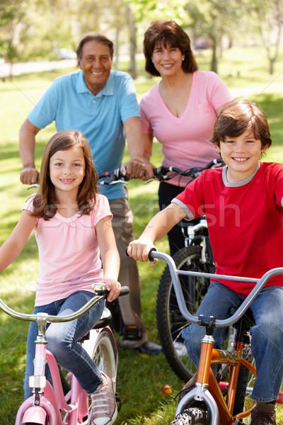 Koyu esmer aile binicilik Motosiklet park kadın Stok fotoğraf © monkey_business