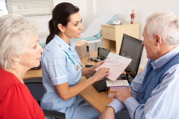 British nurse talking to senior couple Stock photo © monkey_business