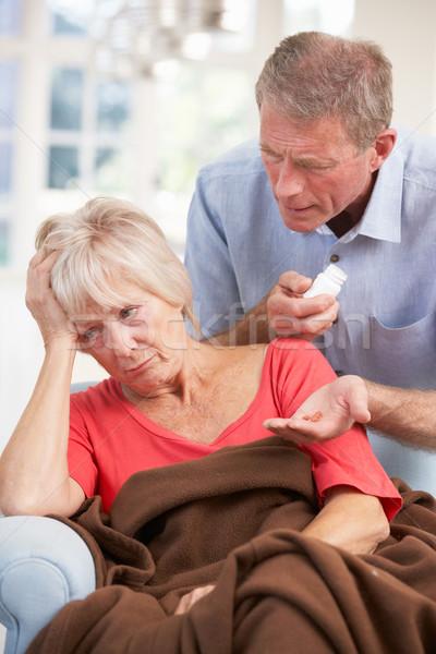 Idős férfi néz beteg feleség portré Stock fotó © monkey_business