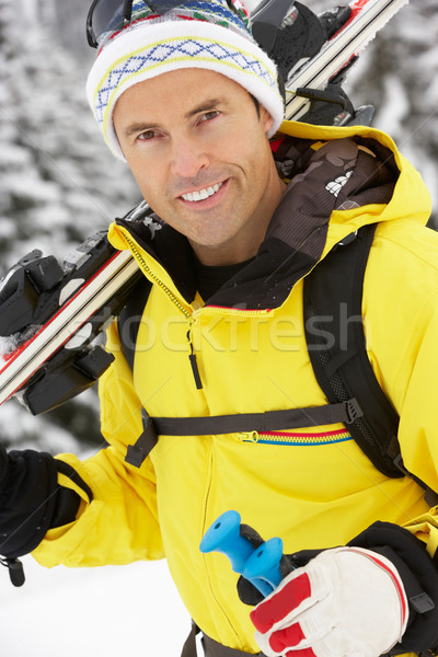 Középkorú férfi sí ünnep hegyek férfi boldog Stock fotó © monkey_business