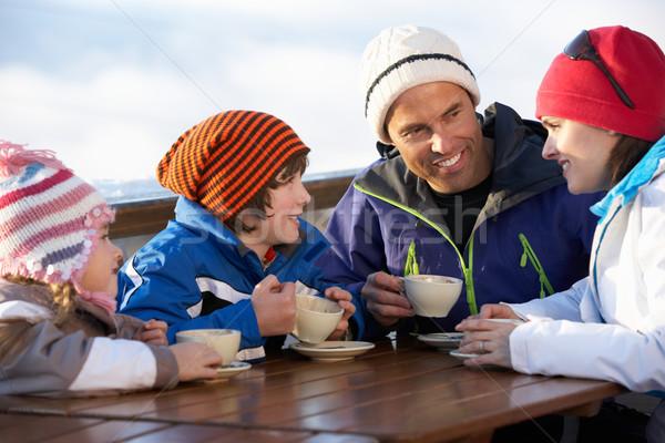 Familie genieten warme drank meisje kinderen man Stockfoto © monkey_business