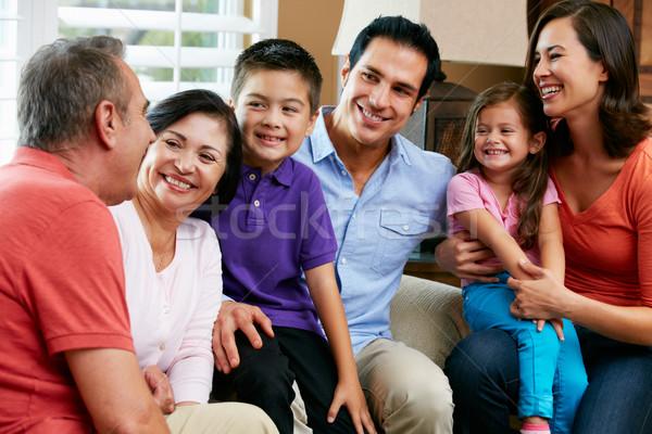 Többgenerációs család megnyugtató otthon együtt család gyerekek Stock fotó © monkey_business