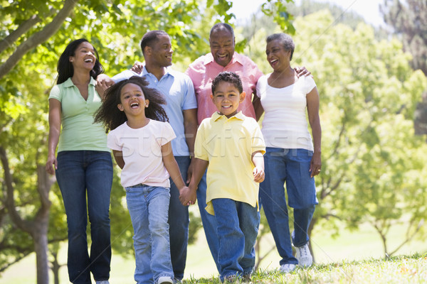 Stock photo: Extended family walking in park holding hands and smiling