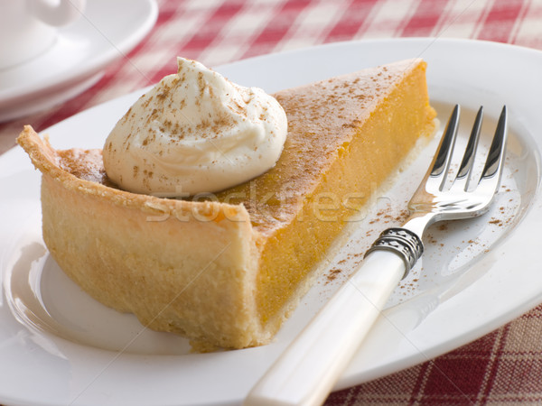 Slice Of Pumpkin Pie With Whipped Cream Stock photo © monkey_business