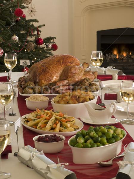ストックフォト: トルコ · クリスマス · ディナー · 食品 · 表 · 肉