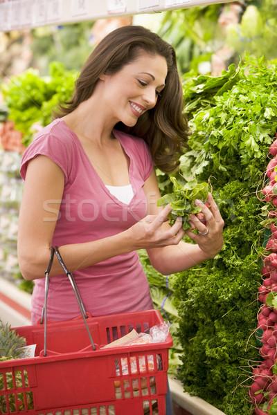 若い女性 ショッピング 作り出す スーパーマーケット 女性 食品 ストックフォト © monkey_business