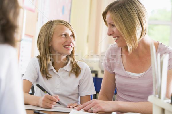 Stockfoto: Schoolmeisje · vergadering · leraar · klasse · vrouw · kind