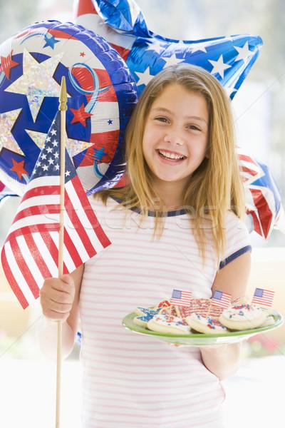 улице четвертый флаг Cookies девушки Сток-фото © monkey_business