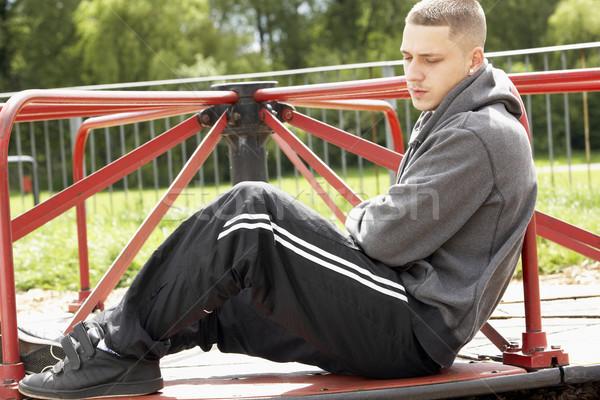 Moço sessão recreio homem rua triste Foto stock © monkey_business