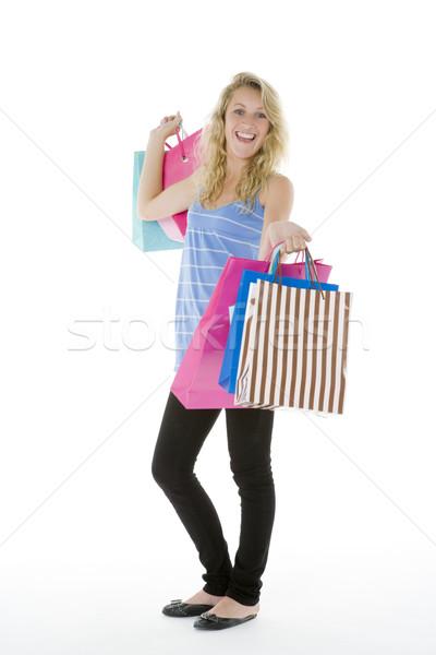 Foto stock: Compras · menina · feliz