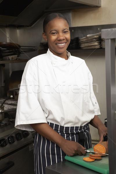 Stock fotó: Női · szakács · zöldségek · étterem · konyha · étel
