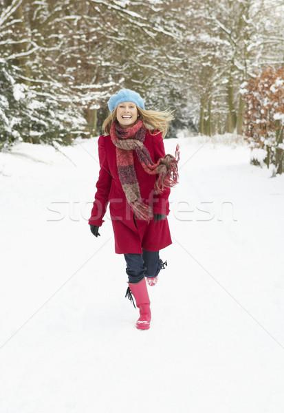 Woman Walking Through Snowy Woodland Stock photo © monkey_business