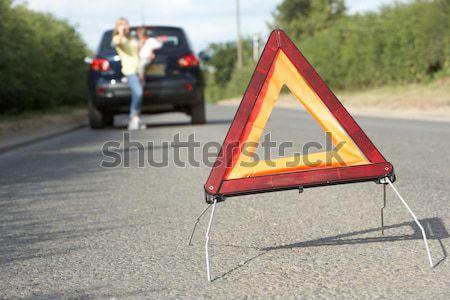 Sofőr törött lefelé vidéki út veszély figyelmeztető jel Stock fotó © monkey_business