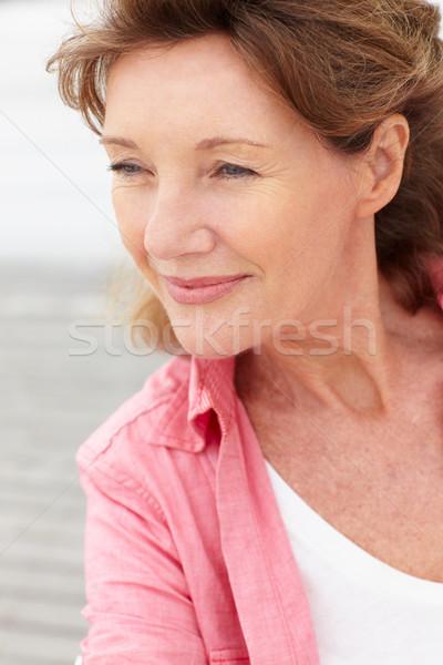 старший женщину голову Плечи человек улыбаясь Сток-фото © monkey_business
