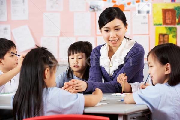 Maestro ayudar estudiantes arte clase chino Foto stock © monkey_business