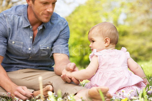 Father Sitting With Baby Girl In Field Of Summer Flowers Stock photo © monkey_business