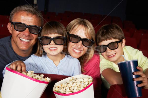 Famille regarder 3D film cinéma enfants Photo stock © monkey_business