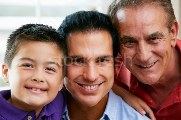 Férfi többgenerációs család otthon család gyerekek férfi Stock fotó © monkey_business