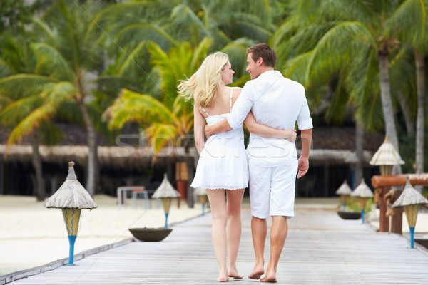Rear View Of Couple Walking On Wooden Jetty Stock photo © monkey_business