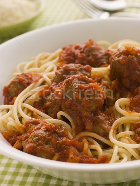 Stock fotó: Tál · spagetti · húsgombócok · paradicsomszósz · étel · főzés