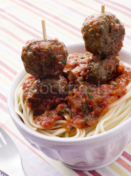 Spaghetti with Meatball Sticks and Spicy Tomato Sauce Stock photo © monkey_business