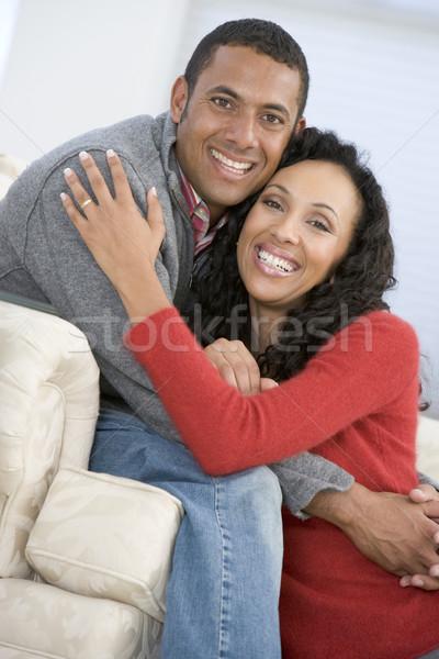 Stockfoto: Paar · woonkamer · glimlachend · vrouw · man · gelukkig