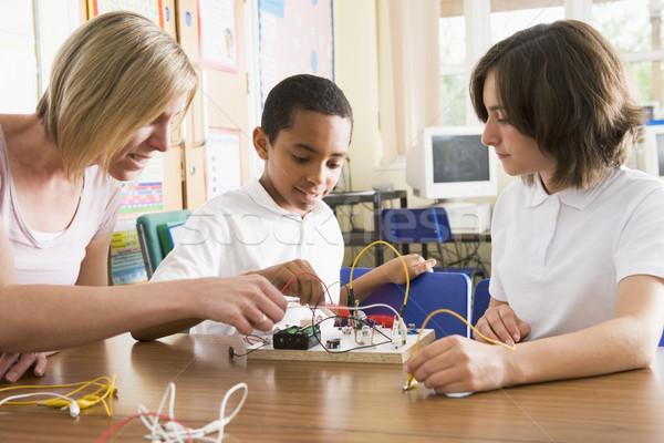 Schoolchildren and their teacher in a science class Stock photo © monkey_business