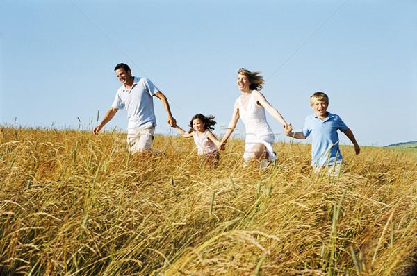 Rodziny uruchomiony odkryty trzymając się za ręce uśmiechnięty dzieci Zdjęcia stock © monkey_business
